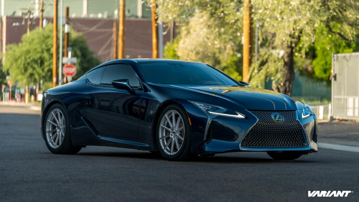 20 inch Staggered Variant Argon Silver Machined on a Lowered 2018 Lexus LC500