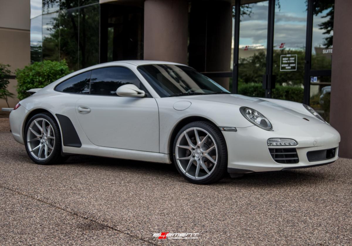 19 inch Staggered Savini Black Di Forza BM14 Brushed Silver on a 2009 Porsche 911 Carrera 997