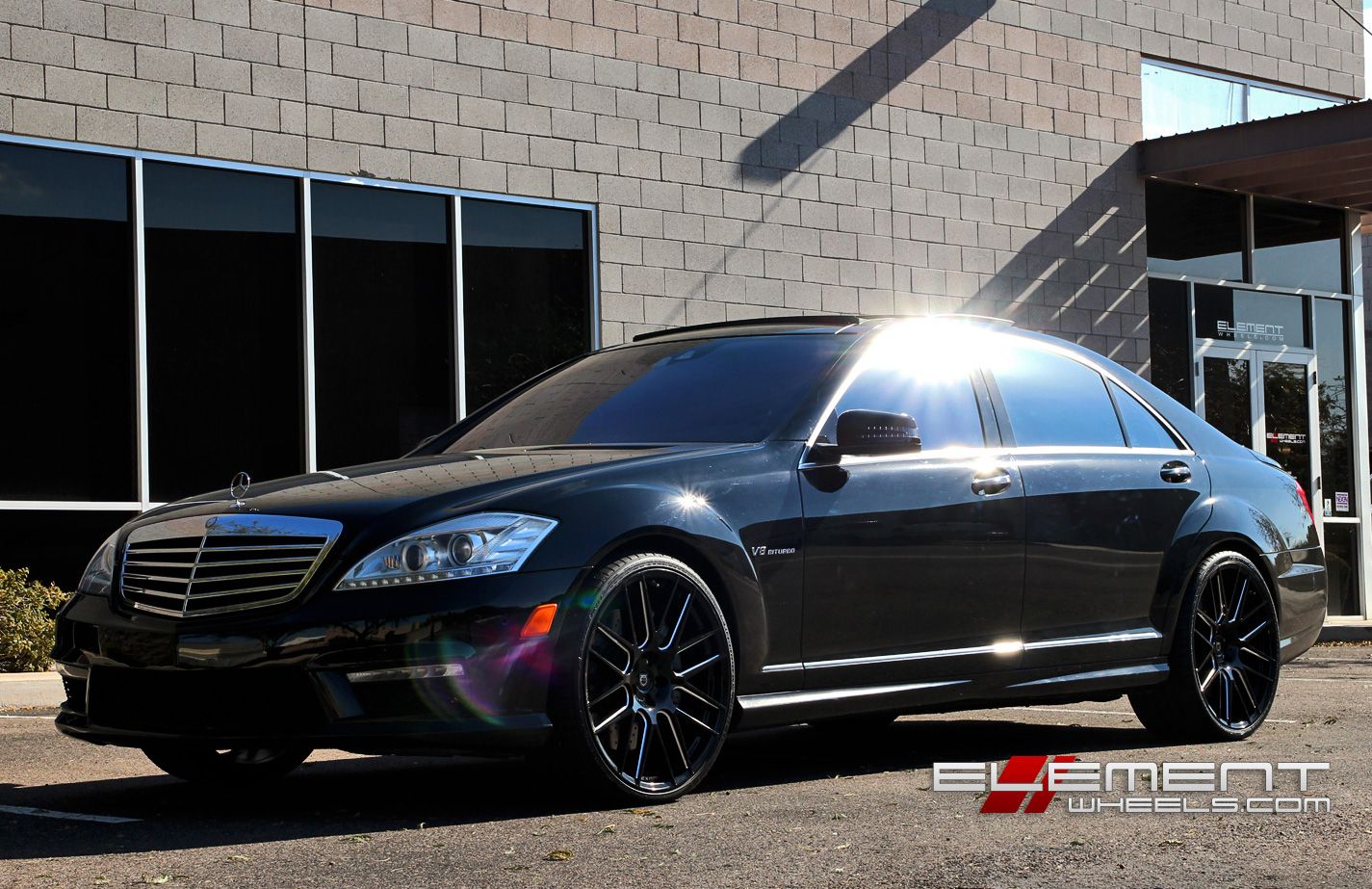 22 inch staggered lexani css8 black milled on 2012 for Mercedes benz staggered wheels