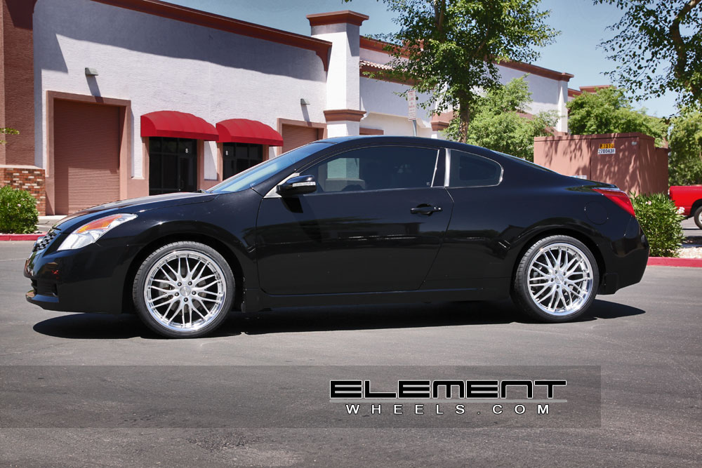 mrr gt1 silver 19 inch wheels on 09 nissan altima coupe w specs