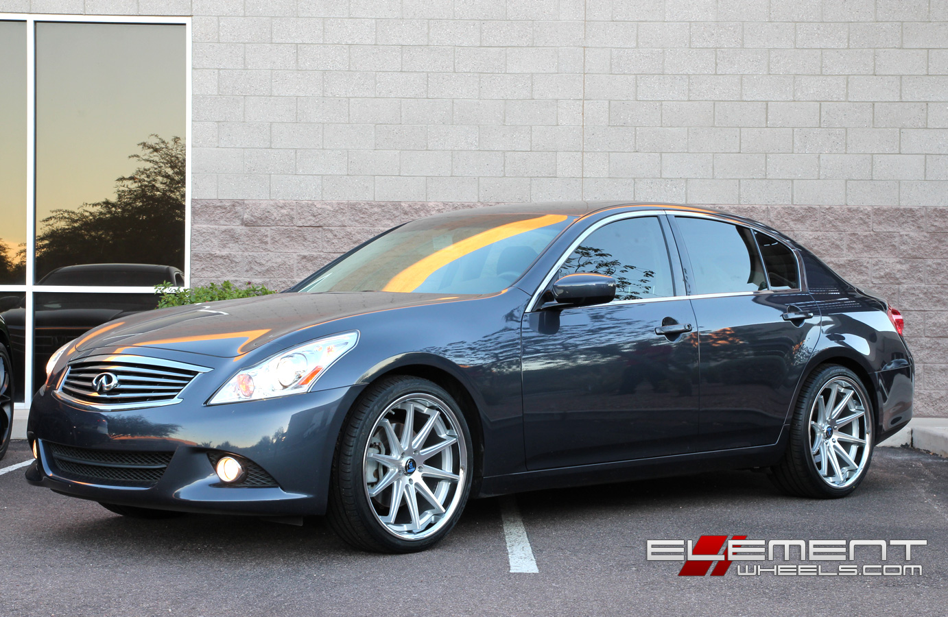 Staggered Concave Rohana Rc10 Silver Machined On 2017 Infiniti G37 Sedan W Specs Element Wheels