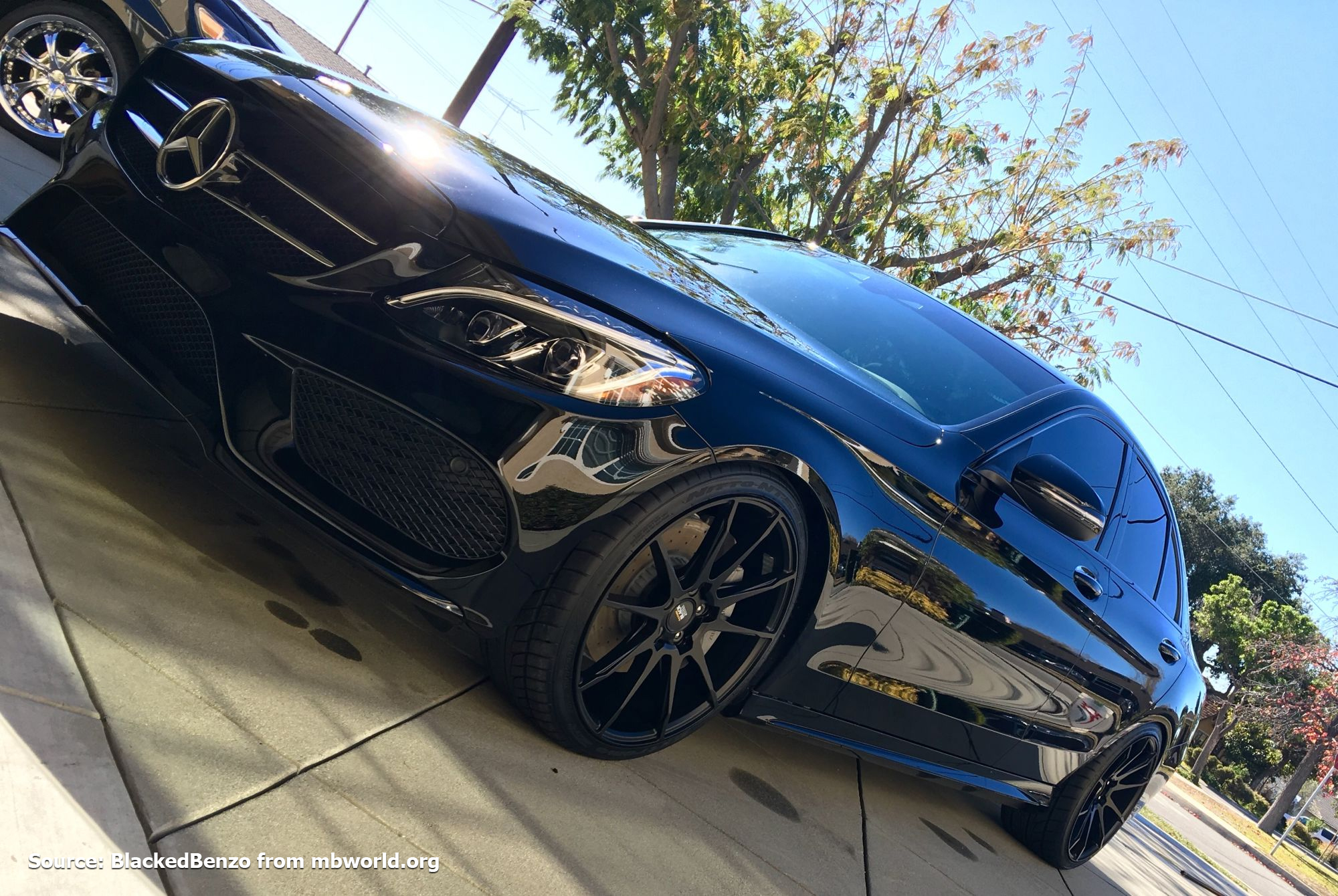 20 Inch Staggered Black Di Forza Bm12 Matte Wheels On 2016 Mercedes C Cl C300 W Specs Element