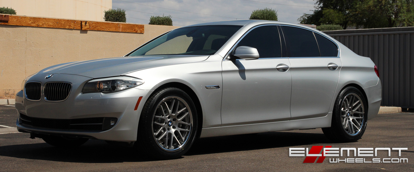 19 Inch Staggered Roderick RW6 Silver W Brushed Face Chrome Stainless Lip On 2011 BMW 528i Specs