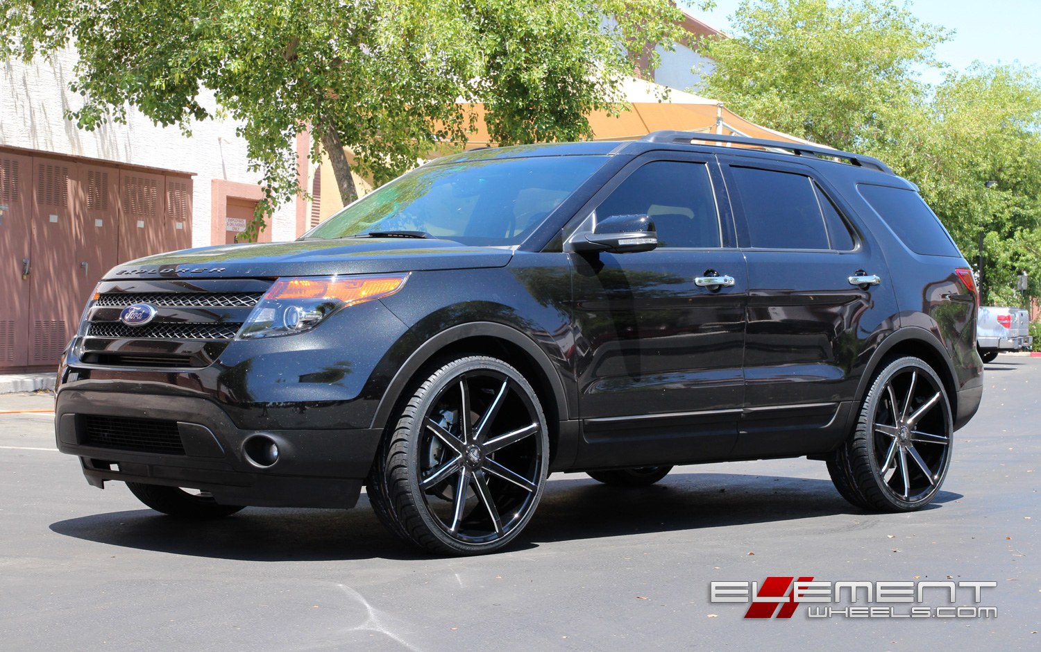 24 inch dub push gloss black milled wheels on 2014 ford explorer w specs element wheels. Black Bedroom Furniture Sets. Home Design Ideas