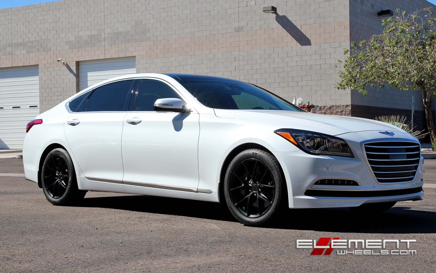 18 Inch Niche Misano Matte Black On 2015 Hyundai Genesis Sedan W Specs Element Wheels