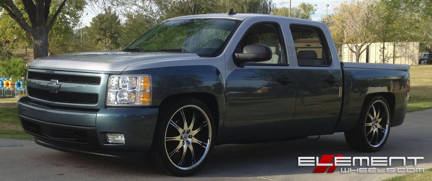24 inch Lexani LX9 Black/Machined wheels on Custom 2008 Chevy Silverado w/  Specs | Element Wheels